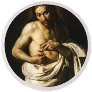 Round Beach Towel featuring the painting Christ Displaying His Wounds by Giacomo Galli