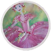 Round Beach Towel featuring the painting Christmas Ballerina by Judith Desrosiers