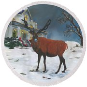 Christmas Elk Round Beach Towel