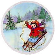 Christmas Joy Child On Sled Round Beach Towel by Glenna McRae