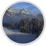 Christmas Morning Grand Teton National Park Round Beach Towel