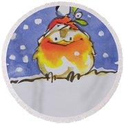 Christmas Robin Round Beach Towel