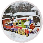 Christmas Train Round Beach Towel
