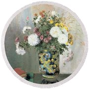 Chrysanthemums In A Chinese Vase Round Beach Towel
