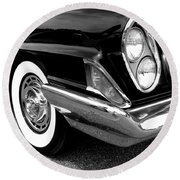 Chrysler 300 Headlight In Black And White Round Beach Towel