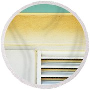 Church Abstract Round Beach Towel by Lenore Senior