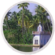Church Located On A Coastal Lagoon In Kerala In India Round Beach Towel