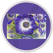 Cineraria Of South Africa  Round Beach Towel