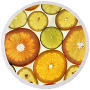 Citrus Slices Round Beach Towel by Photo Researchers