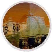 Round Beach Towel featuring the digital art City Abstract by Elaine Manley