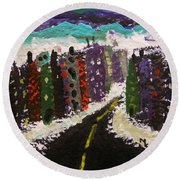 Round Beach Towel featuring the painting City Connections by Mary Carol Williams