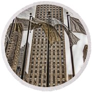 Round Beach Towel featuring the photograph City Glitz by Anne Rodkin