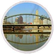 City Reflections Through A Bridge Round Beach Towel