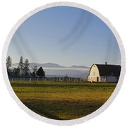 Classic Barn In The Country Round Beach Towel by Mick Anderson