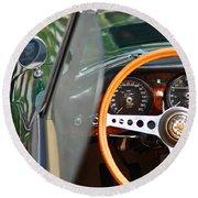Classic Green Jaguar Artwork Round Beach Towel