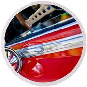 Classic Red Car Artwork Round Beach Towel