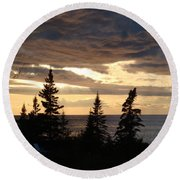 Round Beach Towel featuring the photograph Clearing Sky by Bonfire Photography