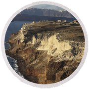 Cliffs Of Cape Apronisi Covered Round Beach Towel