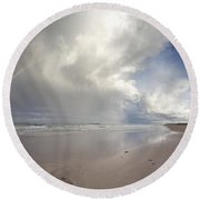 Clouds Reflected In The Shallow Water Round Beach Towel
