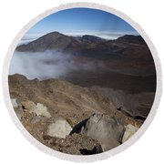 Clouds Rolling Into Haleakala Crater Round Beach Towel
