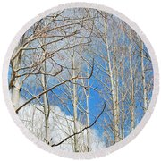 Cloudy Aspen Sky Round Beach Towel