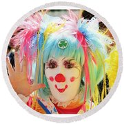 Round Beach Towel featuring the photograph Cloverleaf Clown by Alice Gipson