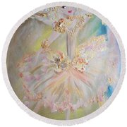 Round Beach Towel featuring the painting Coffee Fairy by Judith Desrosiers