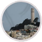 Round Beach Towel featuring the photograph Coit Tower by Eric Tressler
