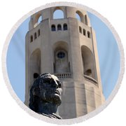 Coit Tower Statue Columbus Round Beach Towel