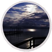 Round Beach Towel featuring the photograph Cold Night On The Water by Clayton Bruster