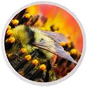Collecting Pollen Round Beach Towel by Vivian Christopher