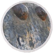 Round Beach Towel featuring the photograph Color Of Steel 7 by Fran Riley
