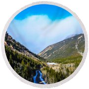 Round Beach Towel featuring the photograph Colorado Road by Shannon Harrington