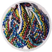 Colorful Beads Jewelery Round Beach Towel