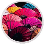 Round Beach Towel featuring the photograph Colorful Umbrella by Luciano Mortula