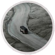Round Beach Towel featuring the photograph Columbia Icefield Glacier Adventure by Laurel Best