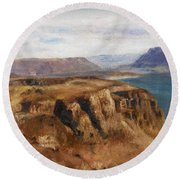Round Beach Towel featuring the painting Columbia River Gorge I by Lori Brackett