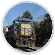 Round Beach Towel featuring the photograph Coming Down The Track by Donna Brown