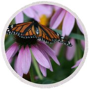 Round Beach Towel featuring the photograph Cone Flowers And Monarch Butterfly by Kay Novy