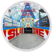 Coney Island Sign Round Beach Towel