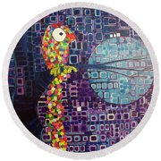 Round Beach Towel featuring the painting Confetti Bird by Donna Howard