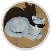 Cool Cat Round Beach Towel by Aimee L Maher Photography and Art Visit ALMGallerydotcom
