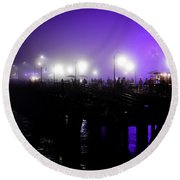 Round Beach Towel featuring the photograph Cool Night At Santa Monica Pier by Clayton Bruster