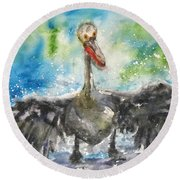 Round Beach Towel featuring the painting Cooling Off by Anna Ruzsan
