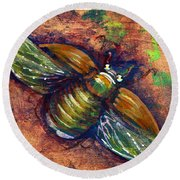 Copper Beetle Round Beach Towel