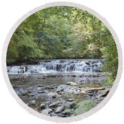Round Beach Towel featuring the photograph Corbetts Glen Waterfall by William Norton