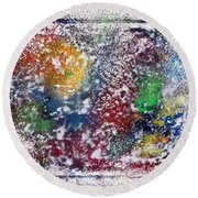 Round Beach Towel featuring the painting Cosmos by Alys Caviness-Gober