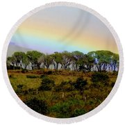 Round Beach Towel featuring the photograph Costa Rica Rainbow by Myrna Bradshaw