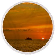 Round Beach Towel featuring the photograph Costa Rica Sunset by Eric Tressler