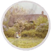 Cottage Freshwater Isle Of Wight Round Beach Towel